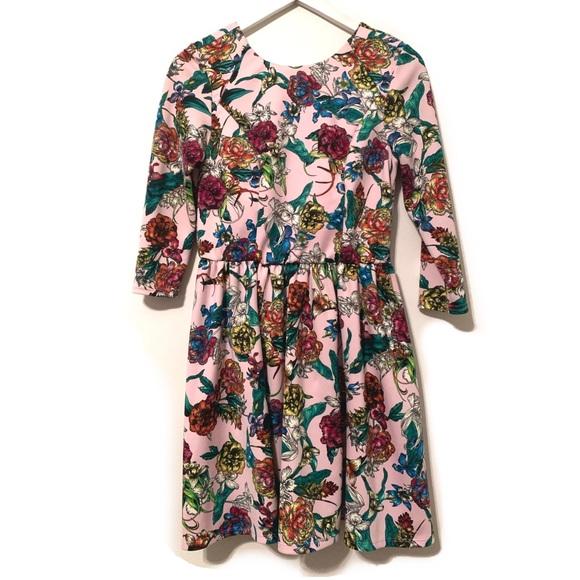ASOS Dresses & Skirts - Asos floral 3/4 sleeve scuba mini skater dress 6